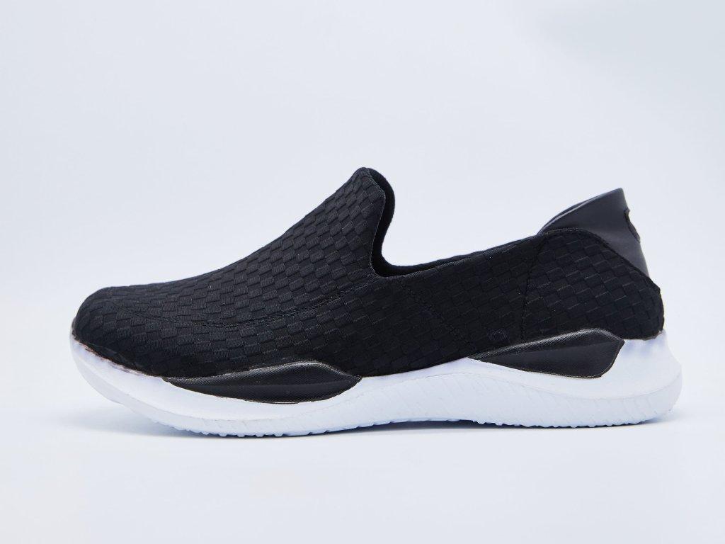 Volnočasová obuv pánská slip on s bílou podrážkou  černá Havoc
