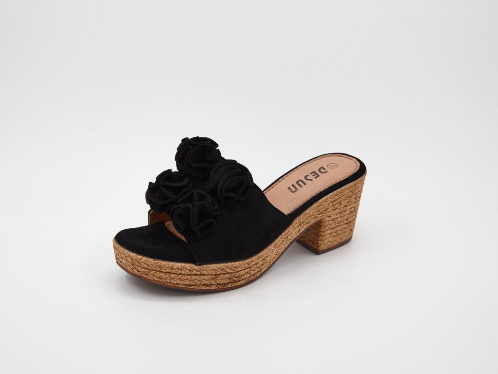 Pantofle dámské na podpatku černé srůžemi Deana