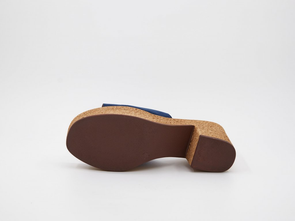 Pantofle dámské na podpatku modré Isolda