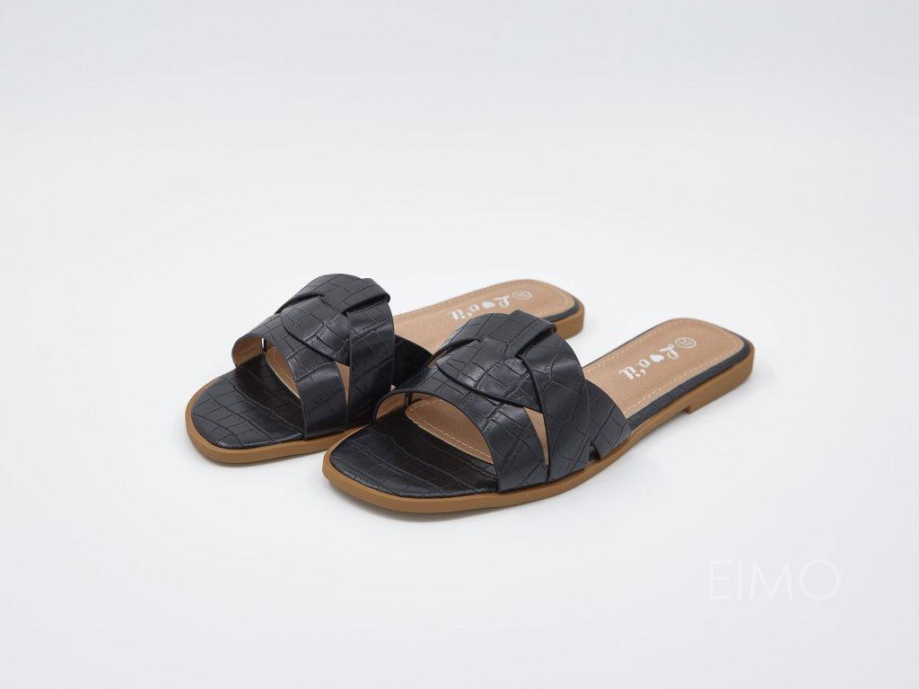 Letní pantofle dámské s pásky černé Collette