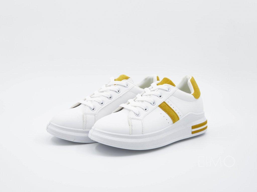 Bílé tenisky VersaW se žlutým lemováním - pár