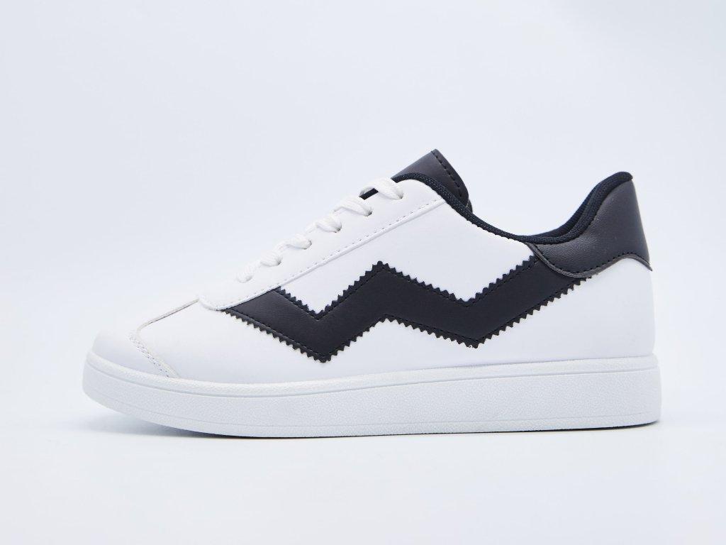 Volnočasová obuv pánská šněrovací bílá s černými vzory Savanah