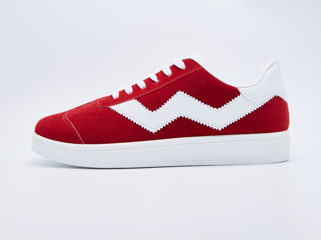 Volnočasová obuv pánská šněrovací červená s bílými vzory Breaker