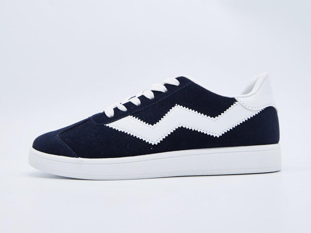 Volnočasová obuv pánská šněrovací tmavě modrá s bílými vzory Lenzo