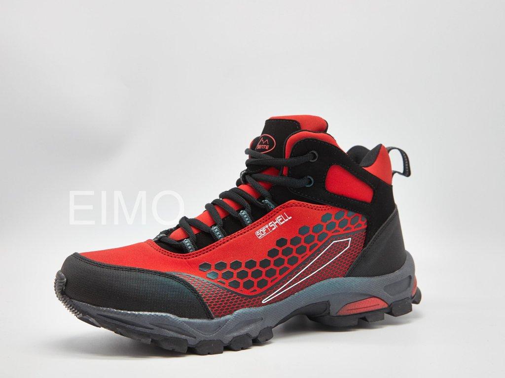 Černo-červená dámská kotníková sportovní obuv Fire