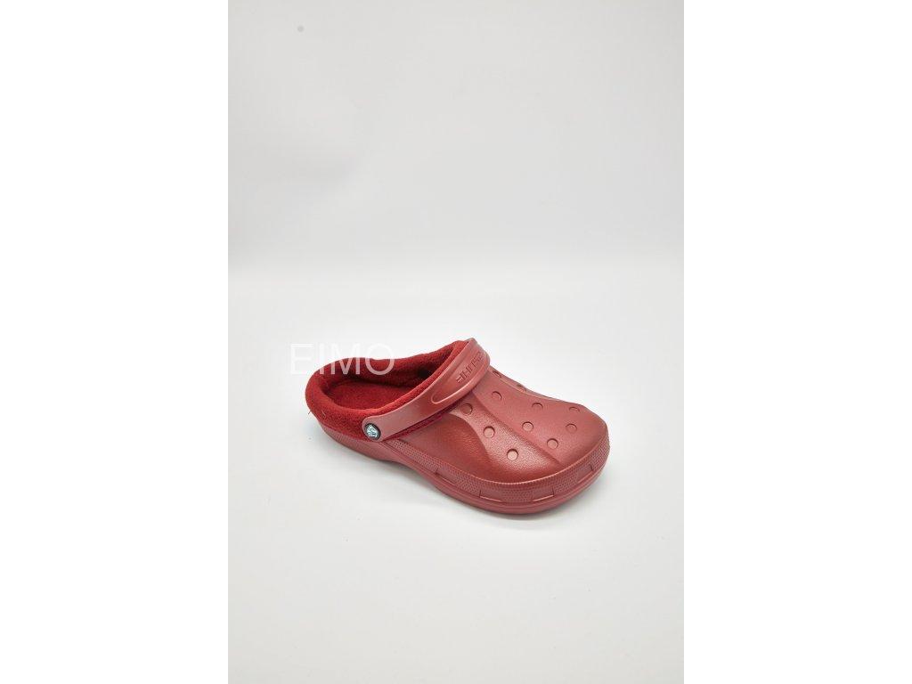 Dámské zateplené nazouváky gumové 601-8 červené