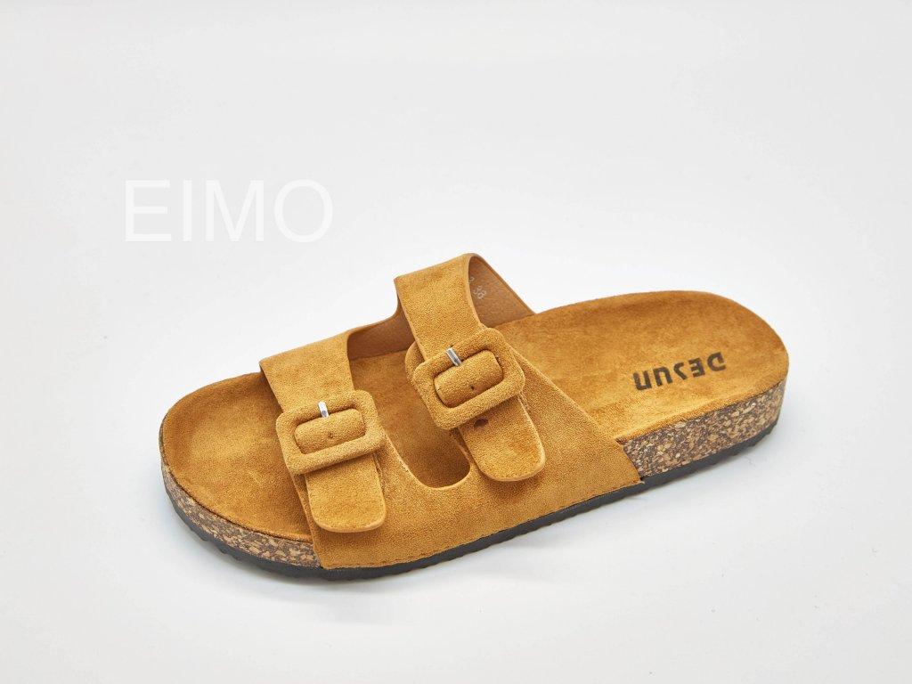 Pantofle zdravotní dámské světle hnědé s přezkami Camel