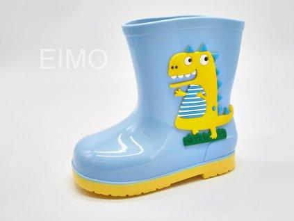 Modré dětské holinky s obrázkem krokodýla Sunny