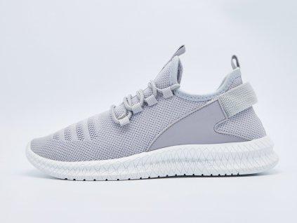 Volnočasová obuv pánská ergonomická s bílou podrážkou šedá Veneze