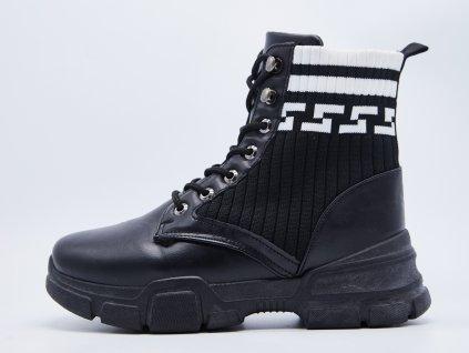 Černé dámské kotníkové boty s širokou platformou Velea - vnitřní strana