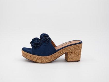 Pantofle dámské na podpatku modré s růžemi Tenezia