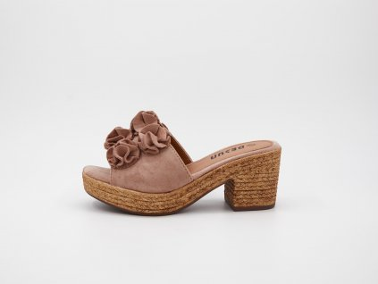 Pantofle dámské na podpatku růžové srůžemi Rosalina