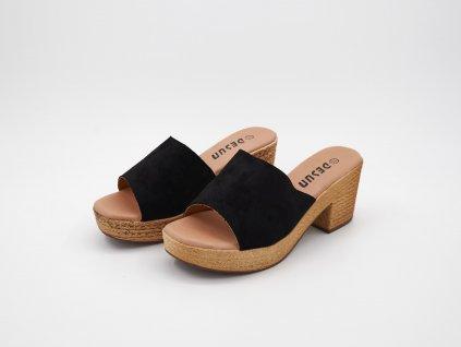 Pantofle dámské na podpatku černé Valeria