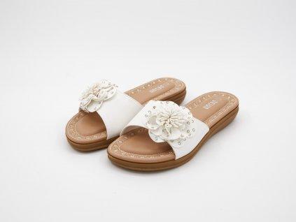 Letní dámské pantofle bílé srůží Kiara