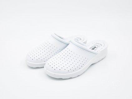 Bílé pantofle Gibol se zavřenou špičkou