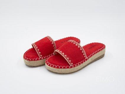 Hebké pantofle dámské na platformě červené Hitsunday