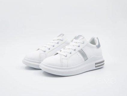 Bílé tenisky VersaW se stříbrným lemováním - pár