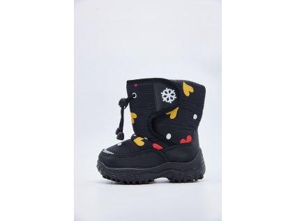 Černé dětské sněhule se srdíčky Zono