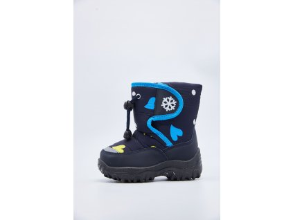 Modré dětské sněhule se srdíčky Vitorio