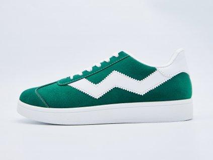 Volnočasová obuv pánská šněrovací zelená s bílými vzory Timo