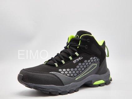 Černo-zelená pánská outdoorová kotníková obuv Beren