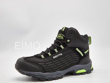 Černo-zelená pánská outdoorová kotníková obuv Melone