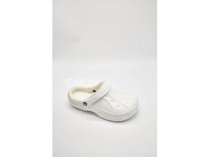 Dámské zateplené nazouváky gumové 601-3 bílé