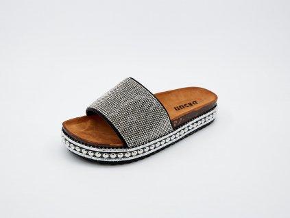 Domácí pantofle dámské černo stříbrné Shinny