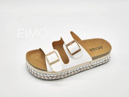 Pantofle zdravotní dámské bílé s přezkami na platformě Berena