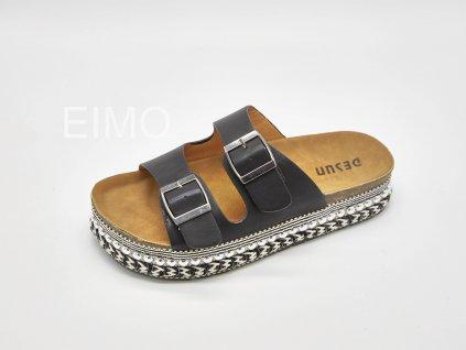 Pantofle zdravotní dámské černé se zdobenou platformou Shelly