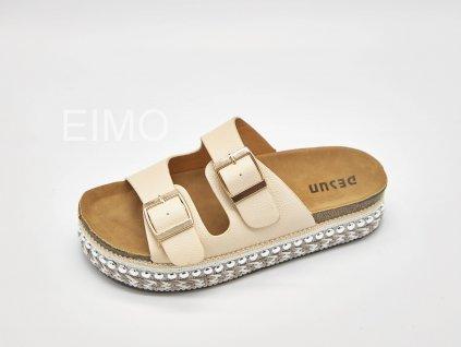 Pantofle zdravotní dámské krémové s ozdobnou platformou Jennifer