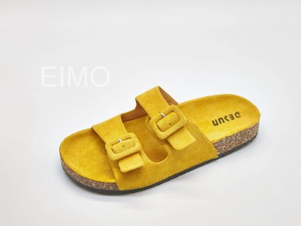 Pantofle zdravotní dámské žluté korkové s přezkami Jolly