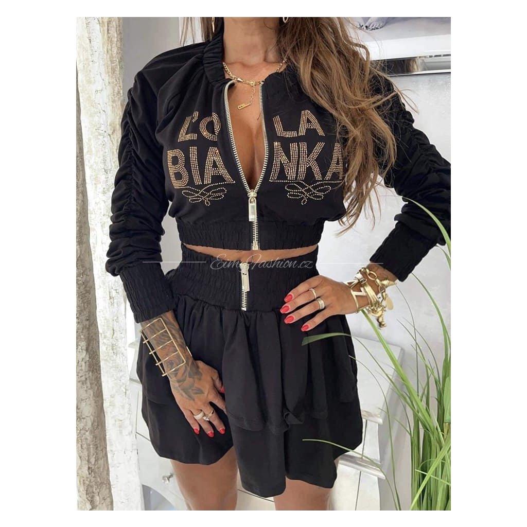 Dvoudílný komplet sukně s mikinou/Black