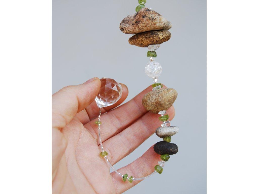 Malý říční závěs s feng shui kouličkou/ olivín,křišťál