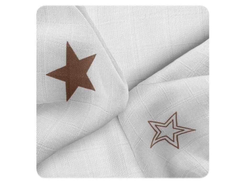 XKKO Bambusové ubrousky BMB 30x30 Natural Brown Stars MIX