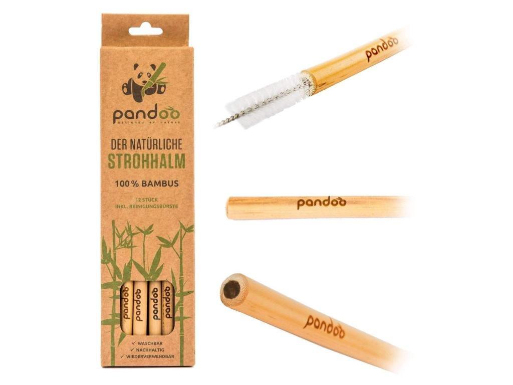 PANDOO Dlouhé bambusové brčko s čistícím kartáčkem sada 12 ks
