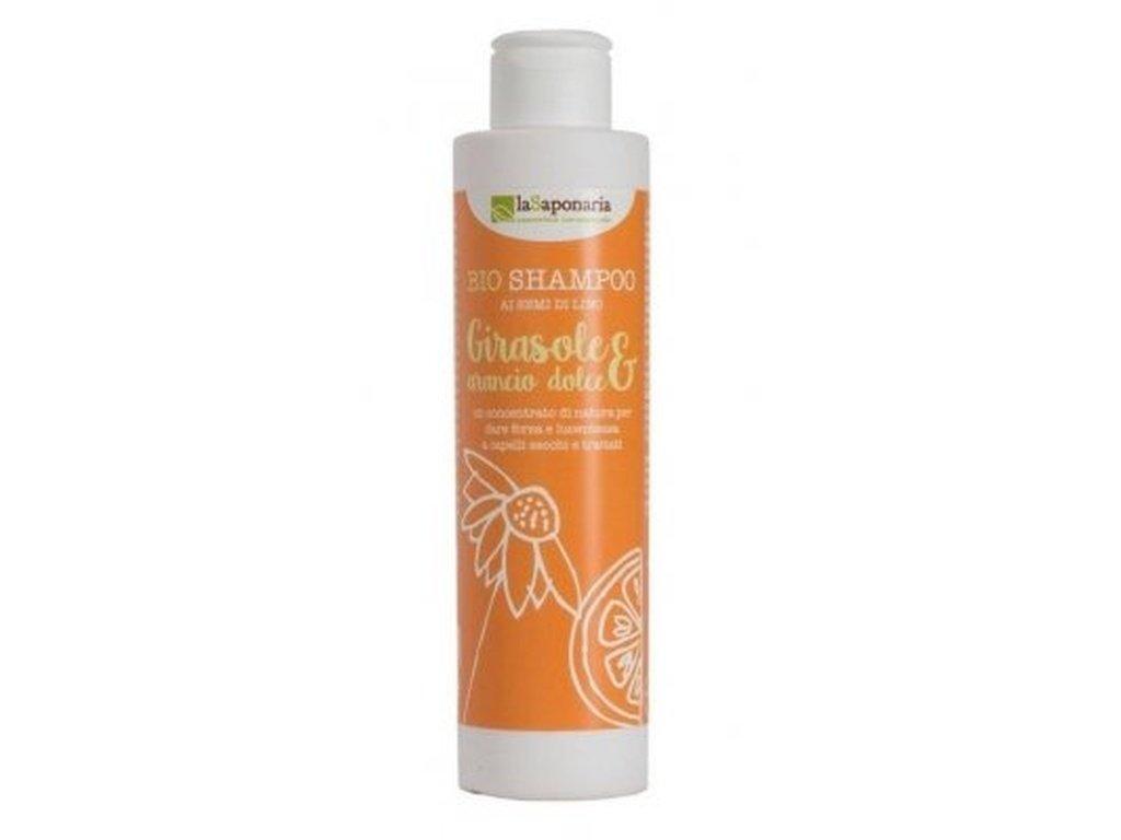 LaSAPONARIA Šampon se slunečnicí a sladkým pomerančem (200 ml) šampon na poničené vlasy