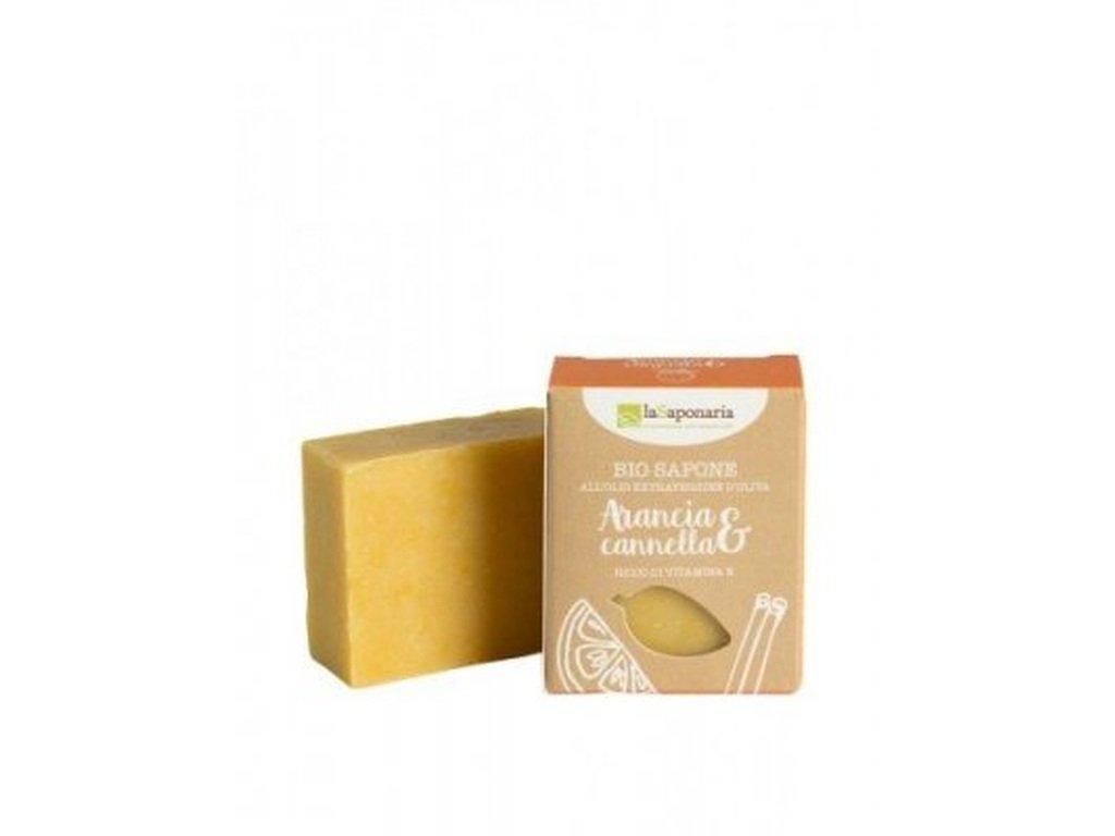 LaSAPONARIA Tuhé olivové mýdlo BIO Pomeranč a skořice 100 g