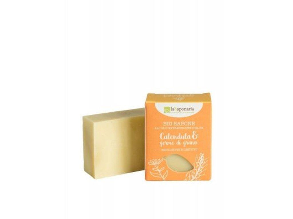 LaSAPONARIA Tuhé olivové mýdlo BIO Měsíček a pšeničné klíčky 100 g