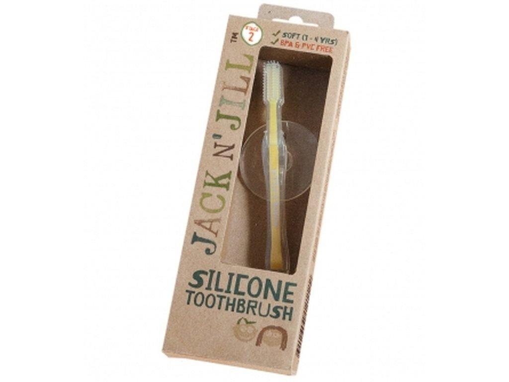 Jack N' Jill Silikonový zubní kartáček s bezpečnostním štítem