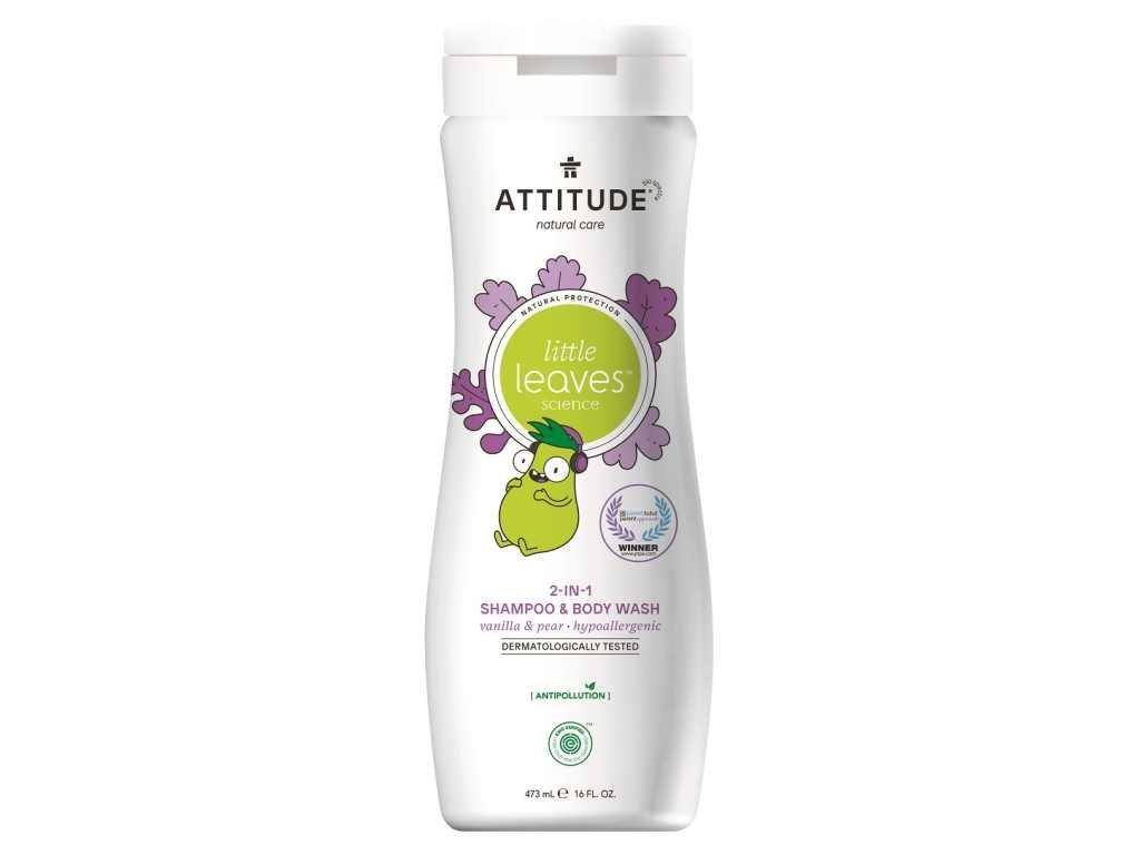ATTITUDE Dětské tělové mýdlo a šampon (2 v 1) s vůní vanilky a hrušky 473 ml