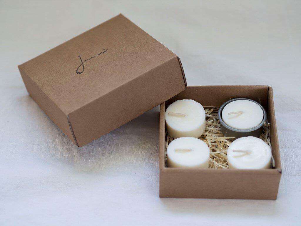 JEMNO Čajové svíčky bez odpadu s kovovým svícnem