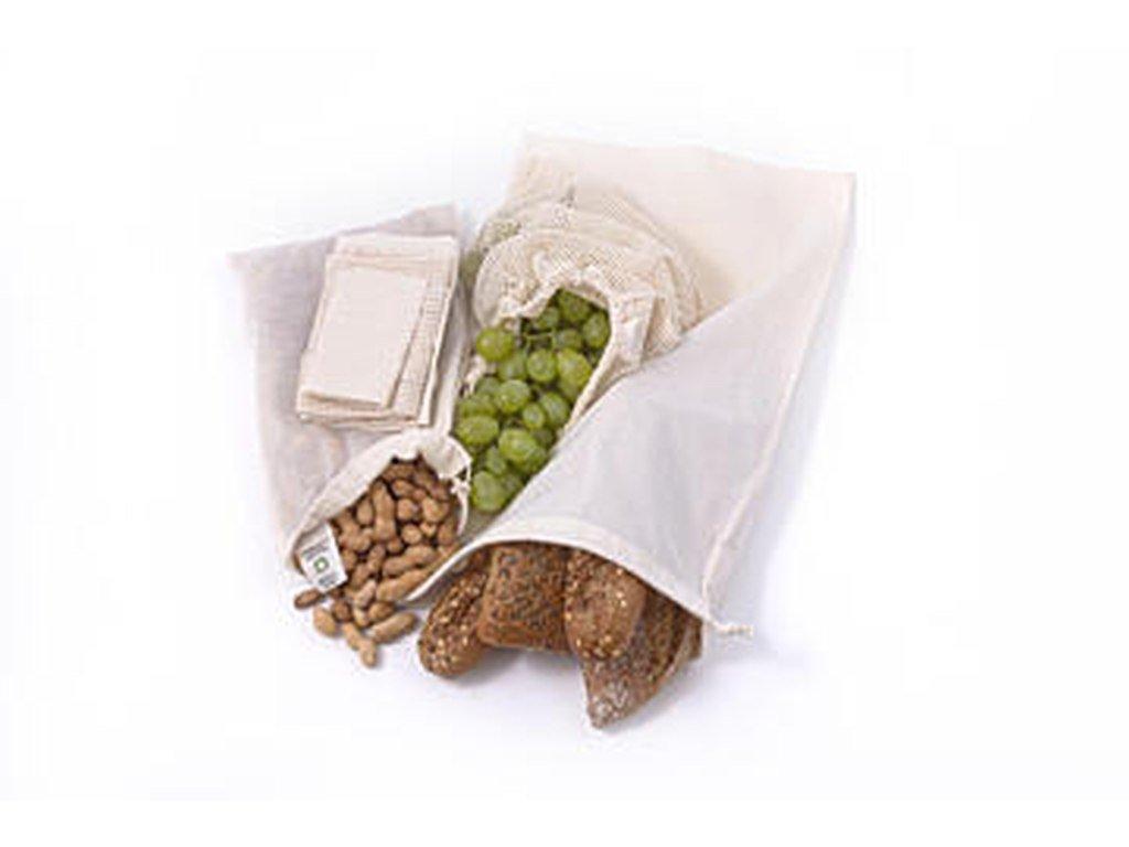 CASA ORGANICA Sada plátěných sáčků na potraviny z biobavlny – malé (3 ks)