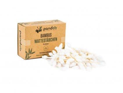 PANDOO Bambusové dětské vatové tyčinky do uší s bio bavlnou 55 ks