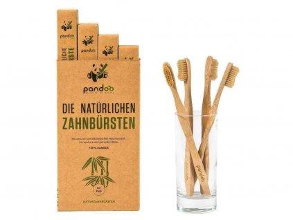 PANDOO Bambusový kartáček Medium Soft sada 4 ks