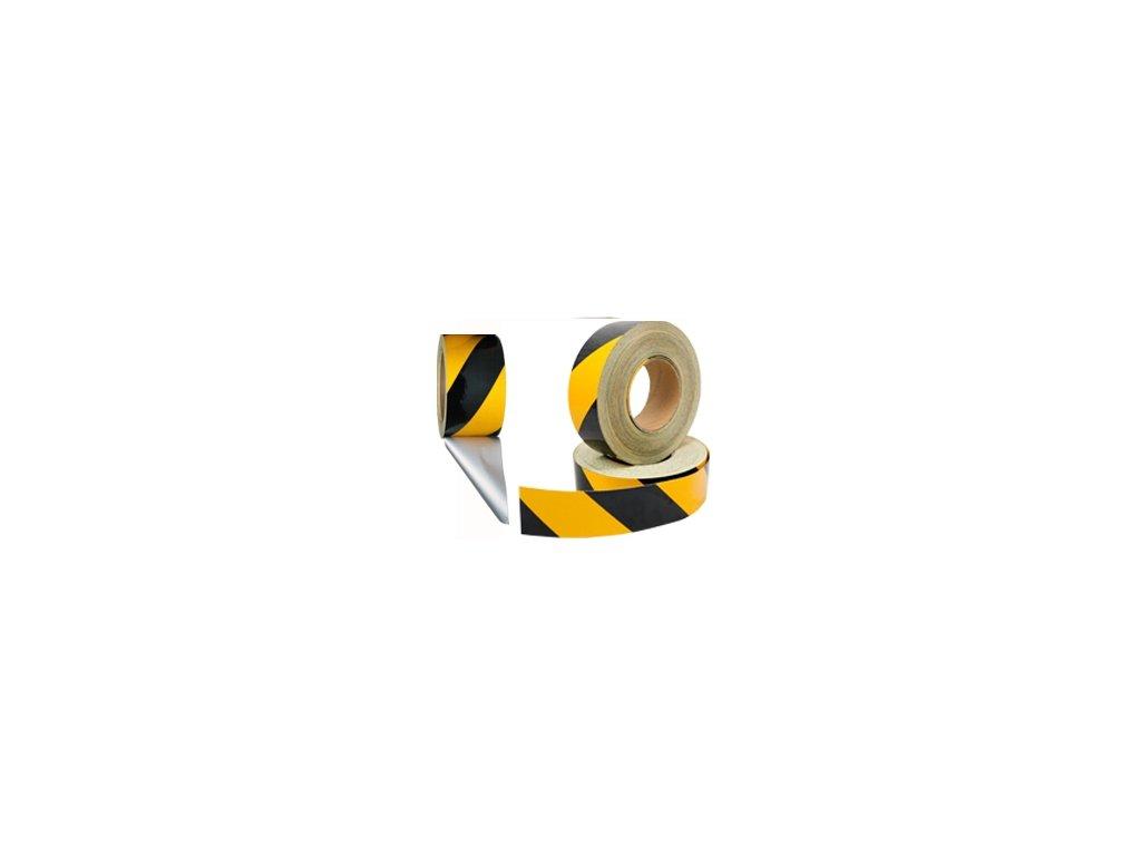 Výstražná samolepící páska - reflexní žlutočerná 5cm x 15m