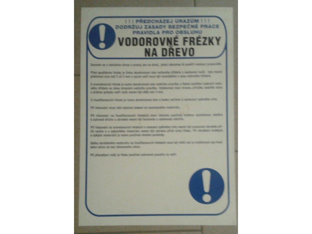 Tabulka - VODOREVNÉ FRÉZKY NA DŘEVO - plast