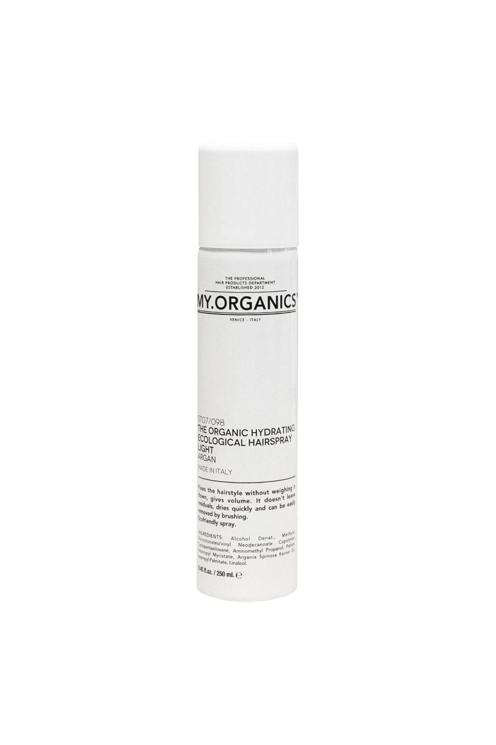 MY.ORGANICS THE ORGANIC HYDRATING ECOLOGICAL HAIRSPRAY LIGHT ARGAN 250ML