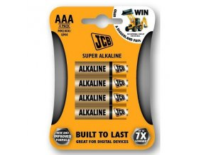 JCB SUPER alkalická baterie LR03, blistr 4 ks