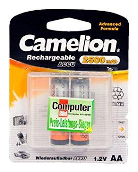 Nabíjecí baterie AA Camelion NiMH 2500mAh, 2 ks